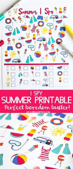 Summer I Spy Printable is the perfect boredom buster for the kids when it's too hot to play outside. This free printable is great for lazy summer days. via @KleinworthCo