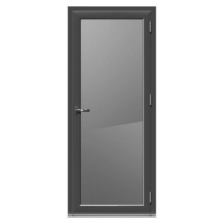 Crystal Grey PVCu & Aluminium Glazed Standard Single Door, (H)2104mm (W)920mm | Departments | DIY at B&Q