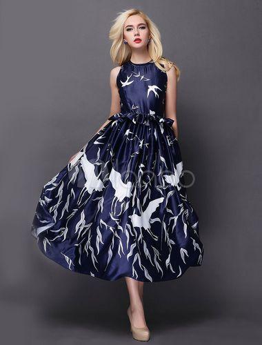 Mode Crewneck bleu Peplum Maxi robe sans manches pour femme - Milanoo.com