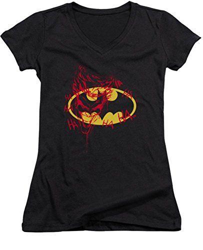 DC Batman Joker Graffiti Ladies Junior Fit V-Neck T-Shirt 2XL @ niftywarehouse.com #NiftyWarehouse #Geek #Gifts #Collectibles #Entertainment #Merch