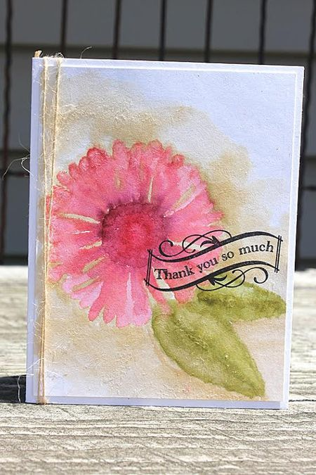 Make It Monday #173: No Outline Watercolor - Thank You So Much Card by Heather Nichols for Papertrey Ink (July 2014)