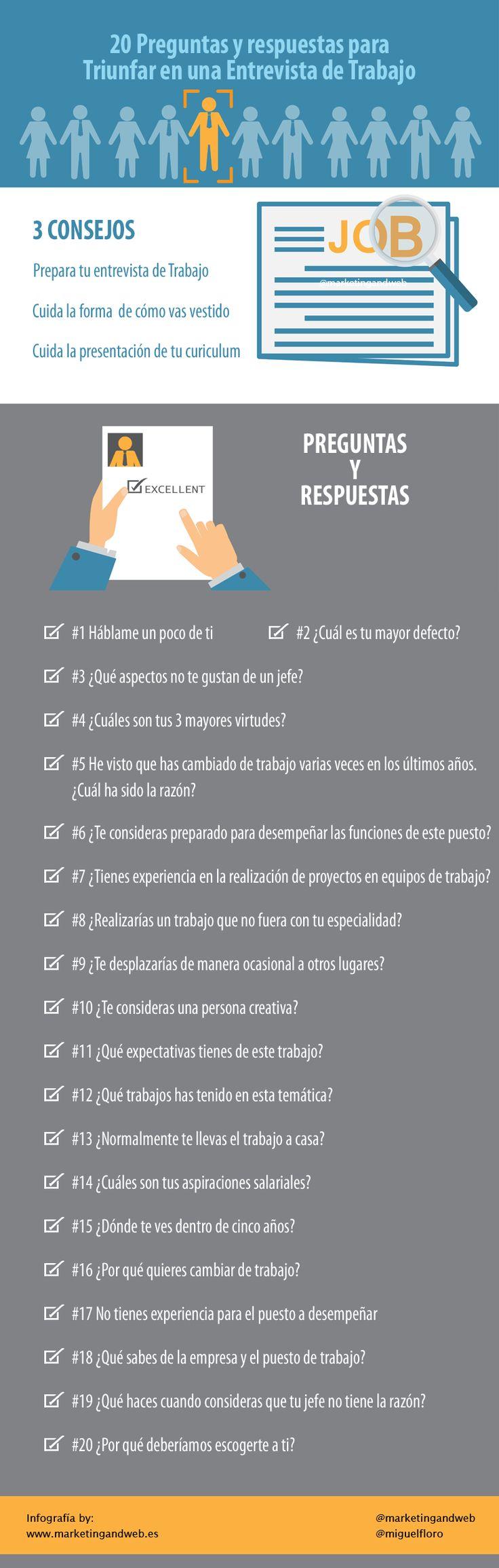 Hola: Una infografía con 20 preguntas clave para una Entrevista de Trabajo. Vía Un saludo