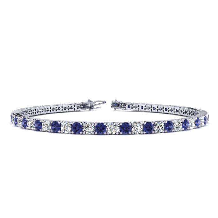 8 5 Inch 2 34 Carat Tanzanite And Diamond Tennis Bracelet In 14k White Gold Sports Online Shopping In 2020 White Gold Diamond Bracelet White Gold Bracelet Black Diamond Bracelet