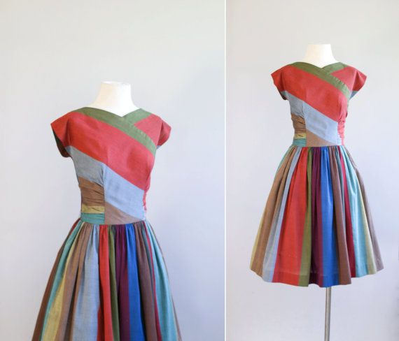 50s dress / 1950s striped party dress / Full by VacationVintage
