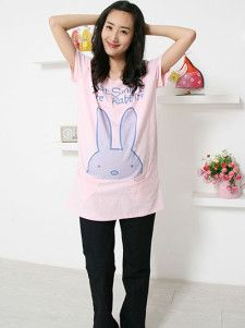Cute Pink 100% Cotton Rabbit Short Sleeve Maternity Tee Shirt