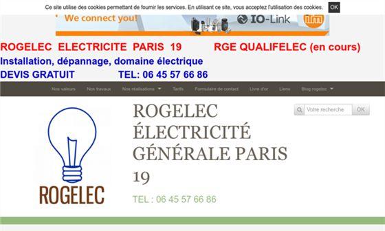 capture d'écran du site Rogelec - Electricité générale à Paris dans le 19ème arrondissement