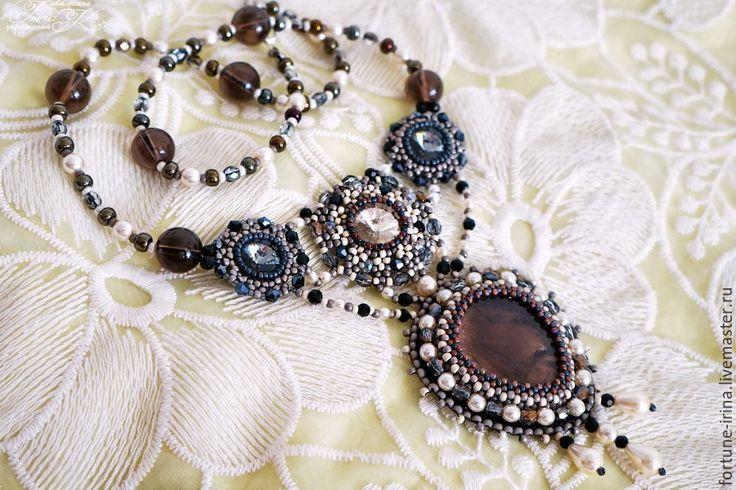 Купить Комплект колье и кольцо с раухтопазом Тайные желания - коричневый, темно-серый, раухтопаз, Сваровски