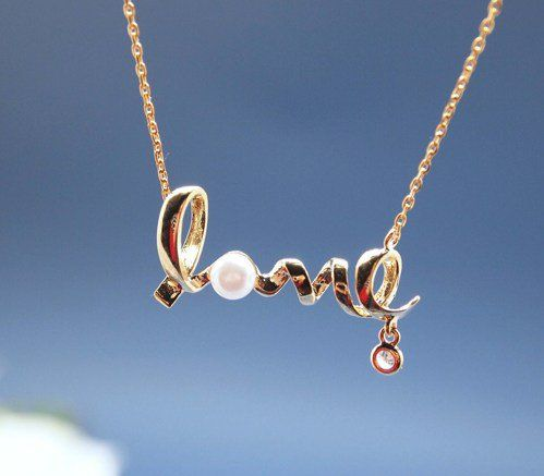 #zizibejewelryArtfire on Artfire                    #love                     #Love #pendant #necklace #with #pearl #Wire #Word #necklace #gold             Love pendant necklace with pearl - Wire Word necklace in gold                                           http://www.seapai.com/product.aspx?PID=635494