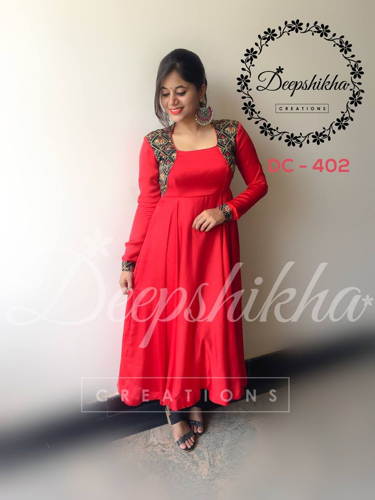 DC 402. Beautiful red color floor length dress with over coat design on yoke.For queries kindly whatsapp : +91 9059683293  31 July 2017