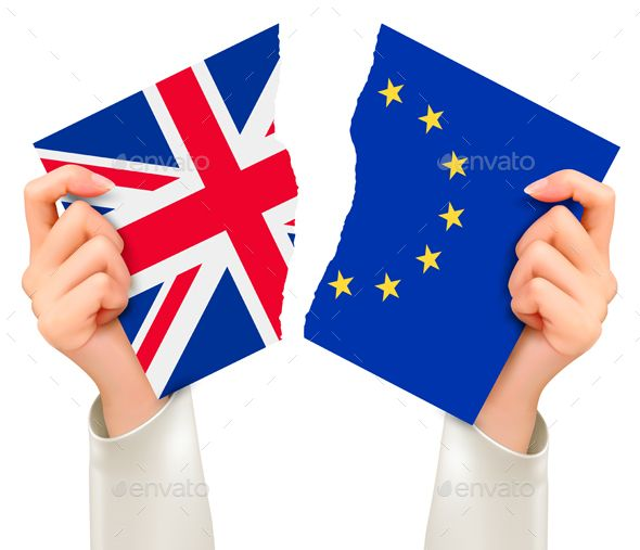Two Torn Flags - Eu And Uk In Hands Brexit Concept Vector