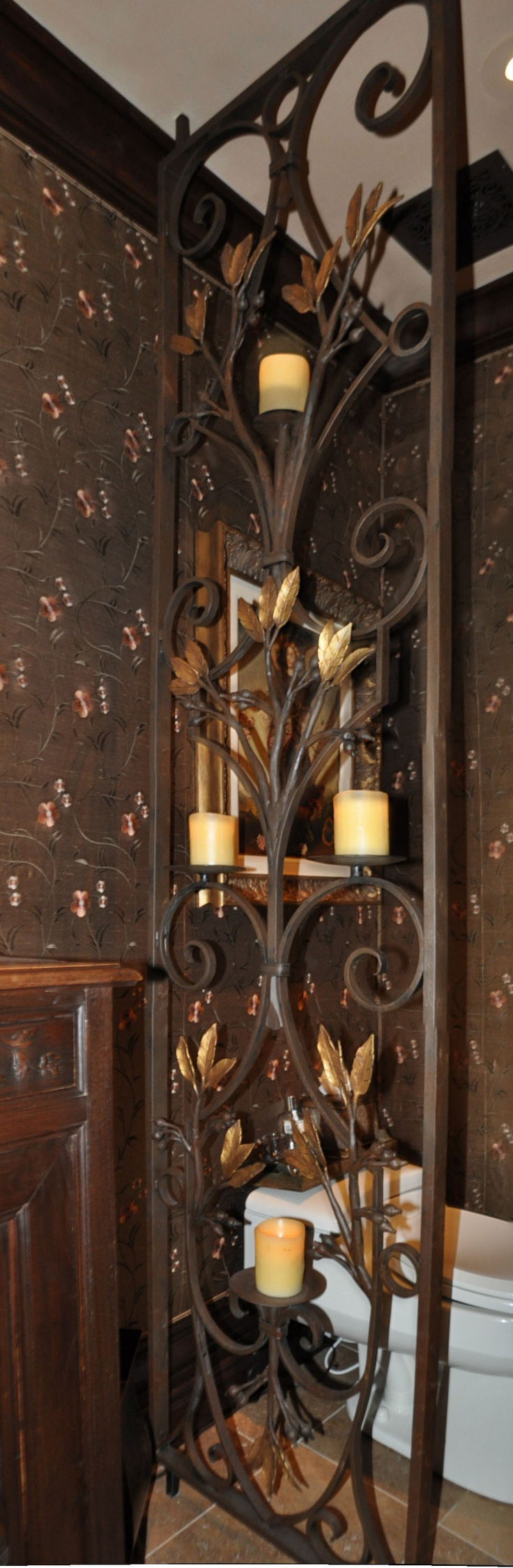 Hand forged powder bath room divider and light fixture