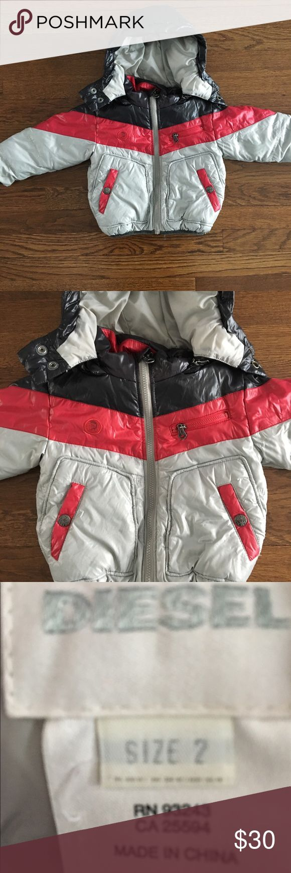 Boys winter jacket Boys light grey winter Jacket with red and black stripes. Detachable hood.  So cute and warm. Diesel Jackets & Coats Puffers