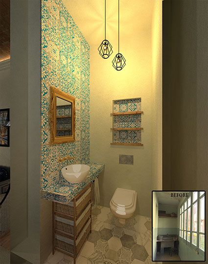 Sustainable Apartment Restoration by The Old Green Corner | Restoration of an old industrial apartment using responsible materials and techniques. Here we see the powder room.