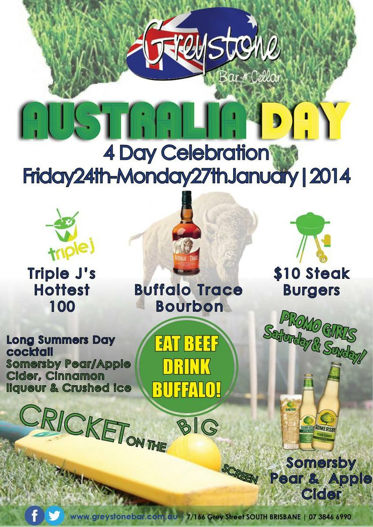 Greystone Bar & Cellar | Our Aussie day event poster } Promotion of our Australia Day events