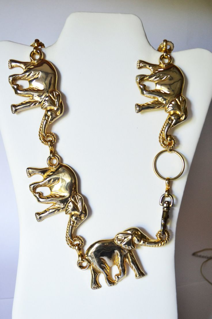 Heavy Elephants Necklace Vintage Jewelry Gold Plated Unisex 260 grams #NKB4 1 6 by eventsmatters on Etsy