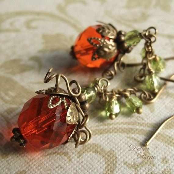Pumpkin Earrings Orange Pumpkin Earrings Pumpkin Vine by DebraDane, $27.00