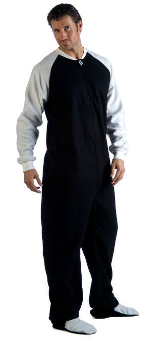 Footed #Pajamas Sporty Black and White Adult Fleece