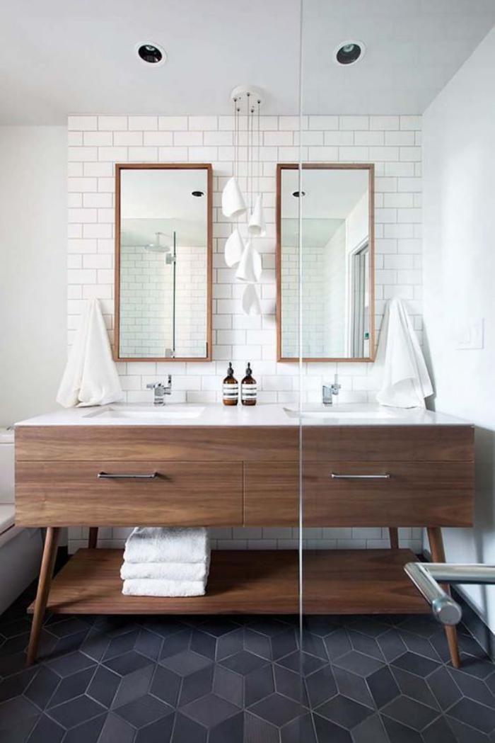 carrelage gris dans salle de bain style scandinave - Carrelage Gris Mur