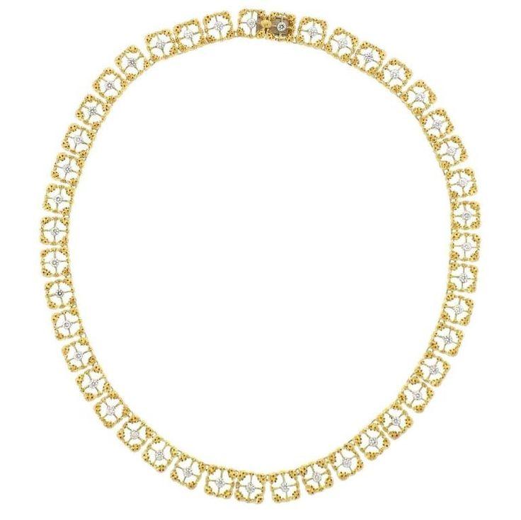 Buccellati Two Tone Gold Diamond Necklace