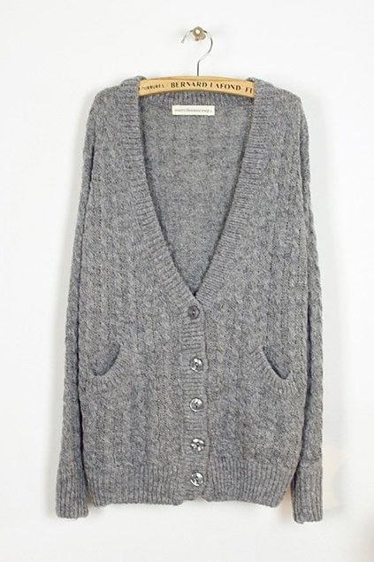 Elegant V-neckline Knitted Cardigan with Double Front Pockets