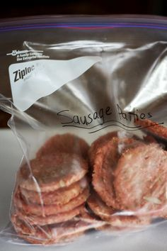 Make ahead homemade frozen sausage patties!- Recipe is easy, delicious and will make for a nice protein filled breakfast!