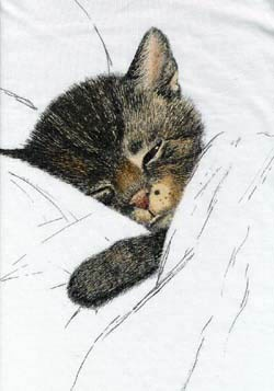 "Chessie Cat - by Austrian artist Guido Gruenwold. Later picked up as advertising for the Chesapeake & Ohio RR -- ergo the name ""Chessie"" (Sleep Like a Kitten)."