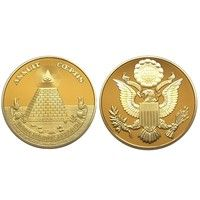 Wish | American National Emblem Annuit Coeptis Novus Ordo Seclorum Masonic MDCCLXXVI 40mm*3mm Gold Coin Collections (Size: 40mm by 3mm, Color: Gold)