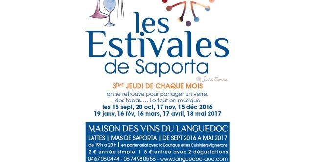 Les Estivales de Saporta Lattes ce jeudi 17 novembre de 19h à 23h au Mas de Saporta sont annoncées avec dégustations de vins, tapas, animations (® saporta)
