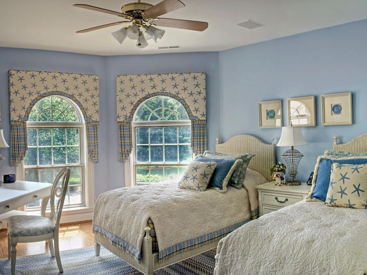 Soft Blue Hues Transform This Coastal Themed Bedroom Into A Peaceful Oasis.  The Box