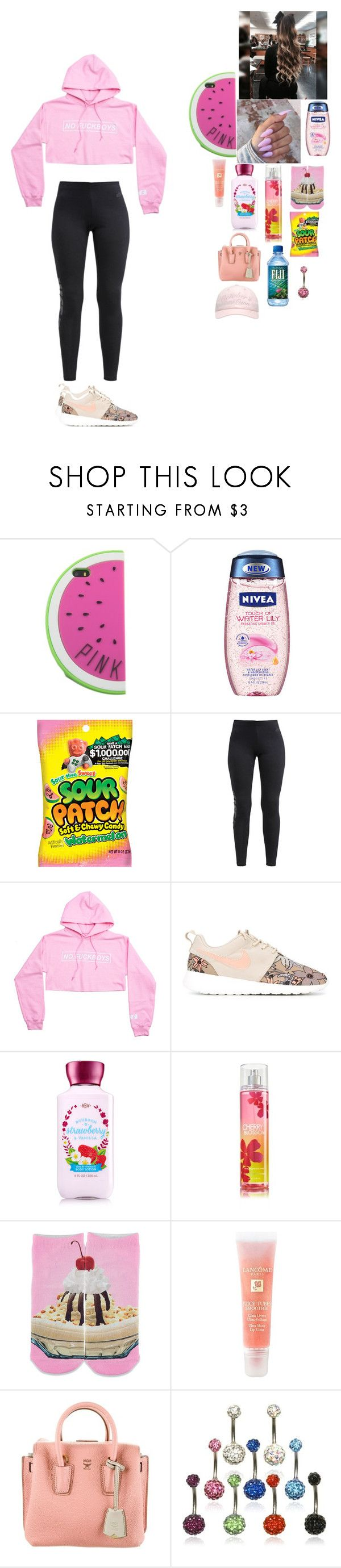 """""""~ self righteous ~"""" by foodislyfe ❤ liked on Polyvore featuring Nivea, NIKE, Forever 21, Lancôme, MCM and October's Very Own"""