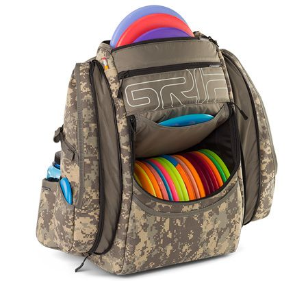 The Grip EQ AX15 disc golf bag extends the state of the art in disc golf bag innovation, featuring increased utility with a 22 disc main compartment.