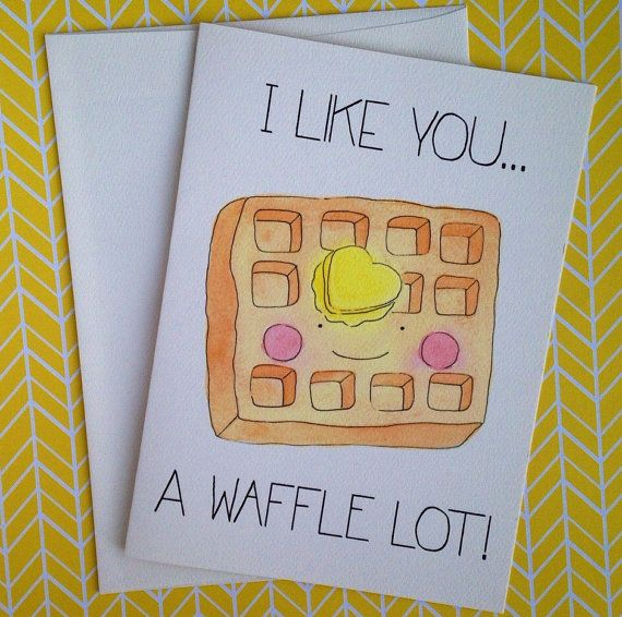 Let someone know that you like them a WAFFLE lot! This food pun card is the cutest, snail mail it to someone special! Product details: *you will