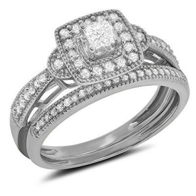Rings, Jewel Tie, 0.45 Carat ct 10k Gold Princess Cut Round Diamond Bridal Set Halo Engagement Ring & Matching Wedding Band - White-gold, Size 4