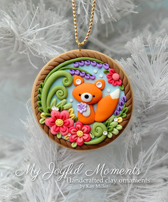 Handcrafted Polymer Clay Fox Scene Ornament - made by Etsy seller My Joyful Moments.