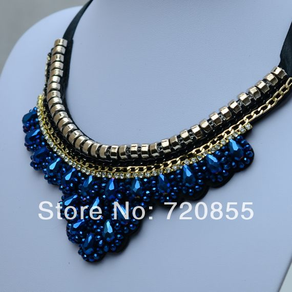 False Collar Necklace Blue Crystal For Women,Fashion Clothing Accessory,Chokers Thick Big Jewelry Handmade,Length:Can adjustment