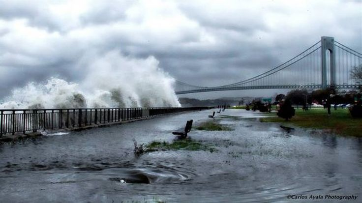 Waves crash ashore near the Verrazano Bridge in Brooklyn, N.Y., ahead of Hurricane Sandy's landfall on Monday, Oct. 29, 2012.