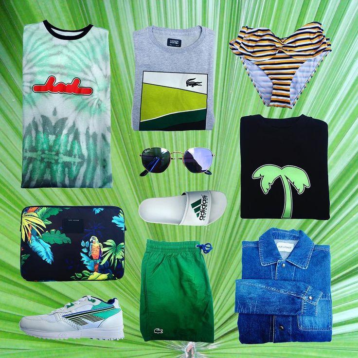 Tropisk weekend inspiration ��Både til herrerne og damerne ✌️ Fra venstre ses  BACK kjole, Marc Jacobs computer sleeve, Hi-Tec sneakers, Lacoste tee, Ray Ban solbriller, Adidas slippers, Lacoste shorts, Mads Nørgaard bikini, BACK sweat og til sidst Our Legacy cowboyjakke! Vi ønsker god weekend �������� #dradams #collage #inspiration #tropical #palms #exotic #spring #summer #odense #newin #welove #holiday #travel http://tipsrazzi.com/ipost/1513894309320161169/?code=BUCbtp2g3eR