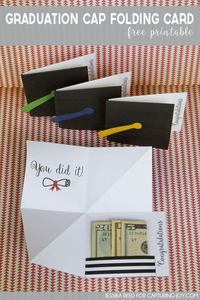Graduation Cap Folding Card Free Printable gift idea (include money)
