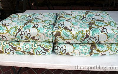 No Sew Project: How to recover your outdoor cushions using fabric and a glue gun. - The V Spot