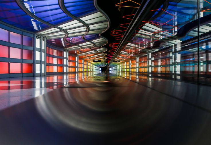 https://flic.kr/p/GtcUNY | Tunnel of time and color. | The reflections from the stainless steel bench and the glass wall of the moving sidewalk in Chicago's O'Hare airport, the walkway between B and C concourses.