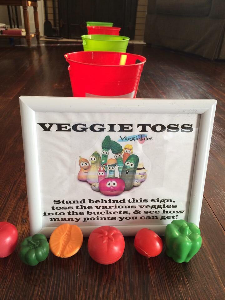 Easy game for a Veggietales Bday party. I found the veggie toys at the dollar store and just taped point signs on buckets found in the dollar aisle at Target.