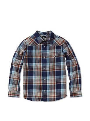62% OFF DC Boy's Plaid Button-Up (Dc Navy Plaid)