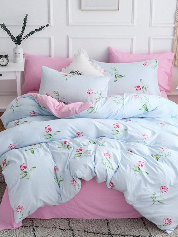 8ba2e1c8b2 Allover Flower Print Sheet Set -SheIn(Sheinside) | Lovely Bedroom ...