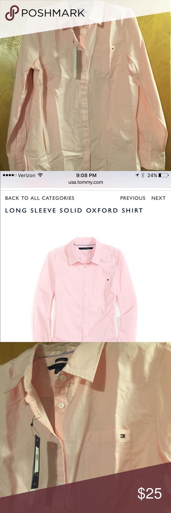 Women's Tommy Hilfiger Button Down Shirt Light pink, long sleeve button down Oxford shirt. Brand new, with tags, Women's size Large Tommy Hilfiger Tops Button Down Shirts