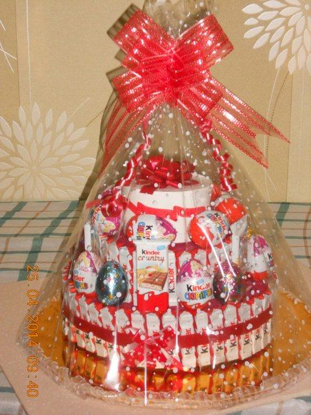 kinder chocolate joy kinder bar kinder surprise egg cake tower candy gift idea basket box valentines day birthday mother day wedding present romantic romance love heart bow red