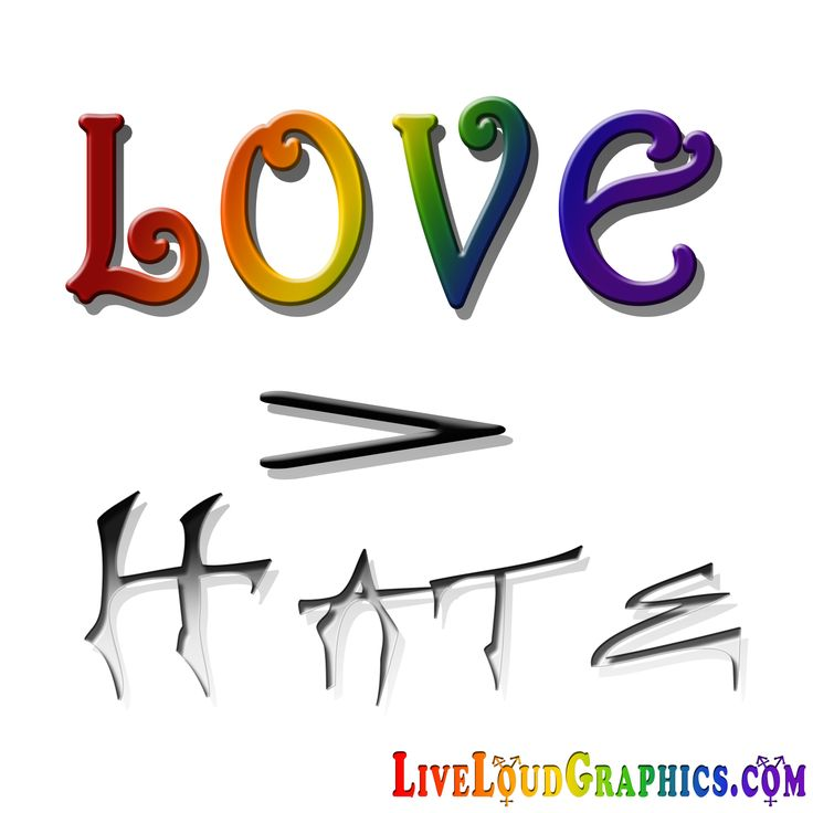 "Gay Pride Community Support. Rainbow colored ""Love"" over a greater than symbol above red ""Hate"".	 	#gaypride  	 	#liveloudgraphics"