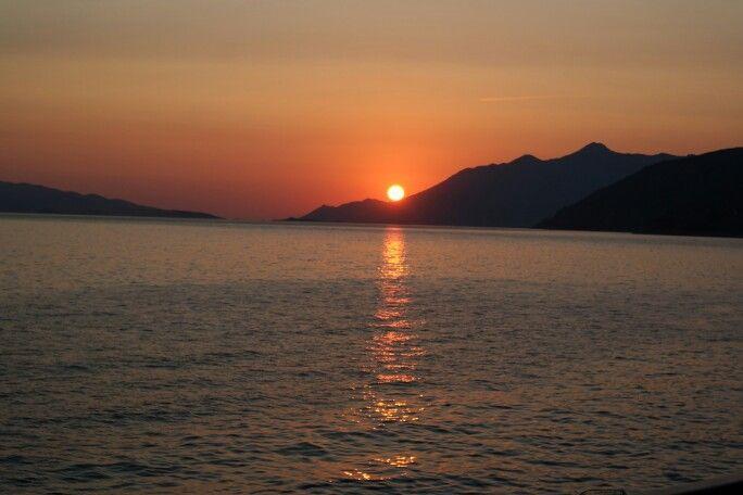 Sundown over Orebic. Dingac, Borak, Peljesac, Potocine, Korcula, Dalmatia, Croatia, nature, sea