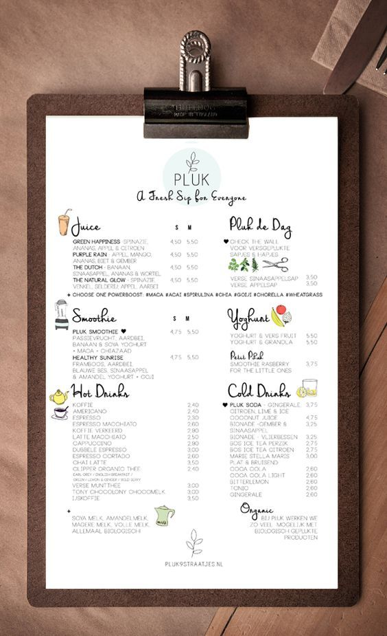 menu de restaurant original