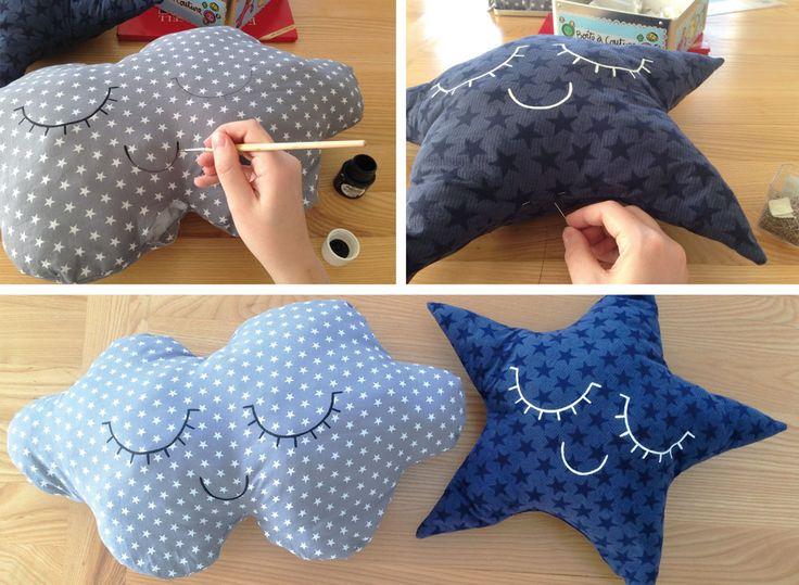 diy-coussin-nuage et etoileRetrouvez tous les tissus étoiles chez www.sylvetteengoguette.com