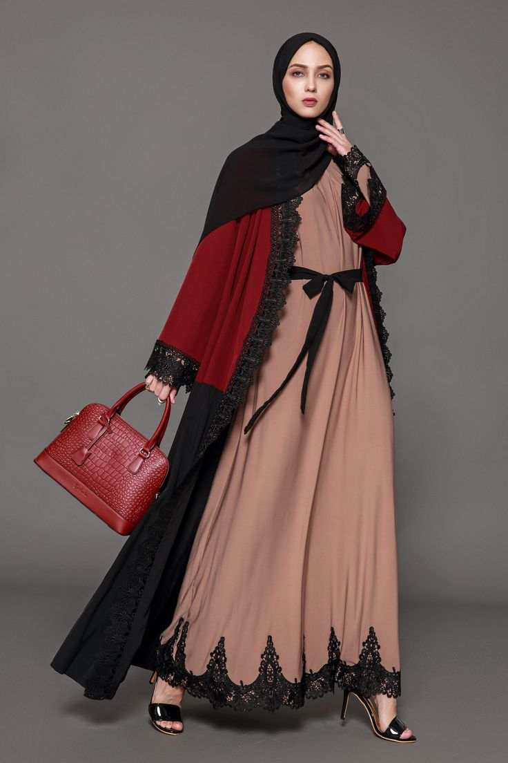 New arrival: Chicloth Red Musl... Don't Miss it out!  http://chicloth.com/products/chicloth-red-muslim-women-fashion-hit-color-lace-hem-cardigan-dress?utm_campaign=social_autopilot&utm_source=pin&utm_medium=pin